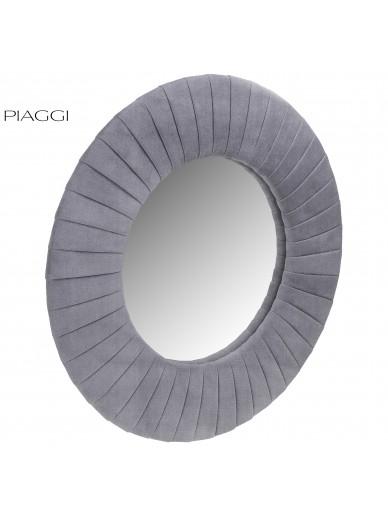 Velvet Grey Round Mirror
