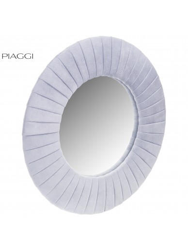 Velvet Light Grey Round Mirror