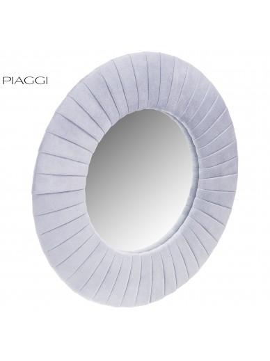Velvet Light Grey Round Mirror