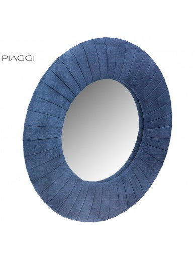 Velvet Navy Blue Round Mirror