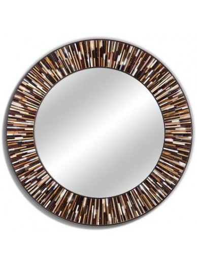 Roulette Brown Light Round Mirror