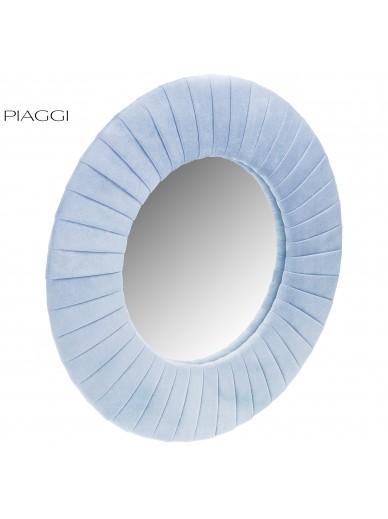 Velvet Blue Round Mirror